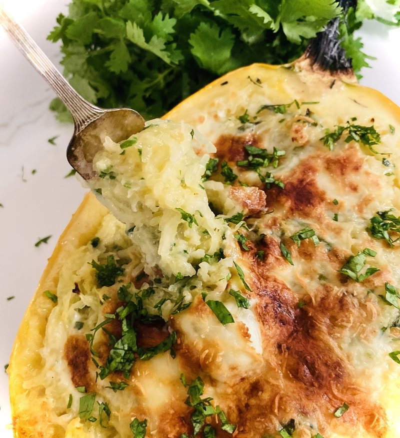Cheesy Garlic Spaghetti Squash with Sneaky Kale