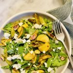 lemony snap pea and zucchini salad with pistachios and feta