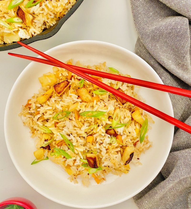 miso coconut fried rice with pineapple