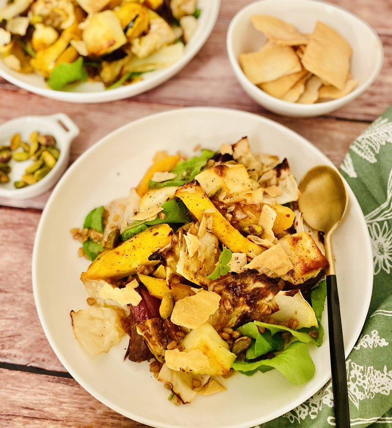 Roasted Fall Veggie Bowl with Halloumi Pita Chips and Pistachios