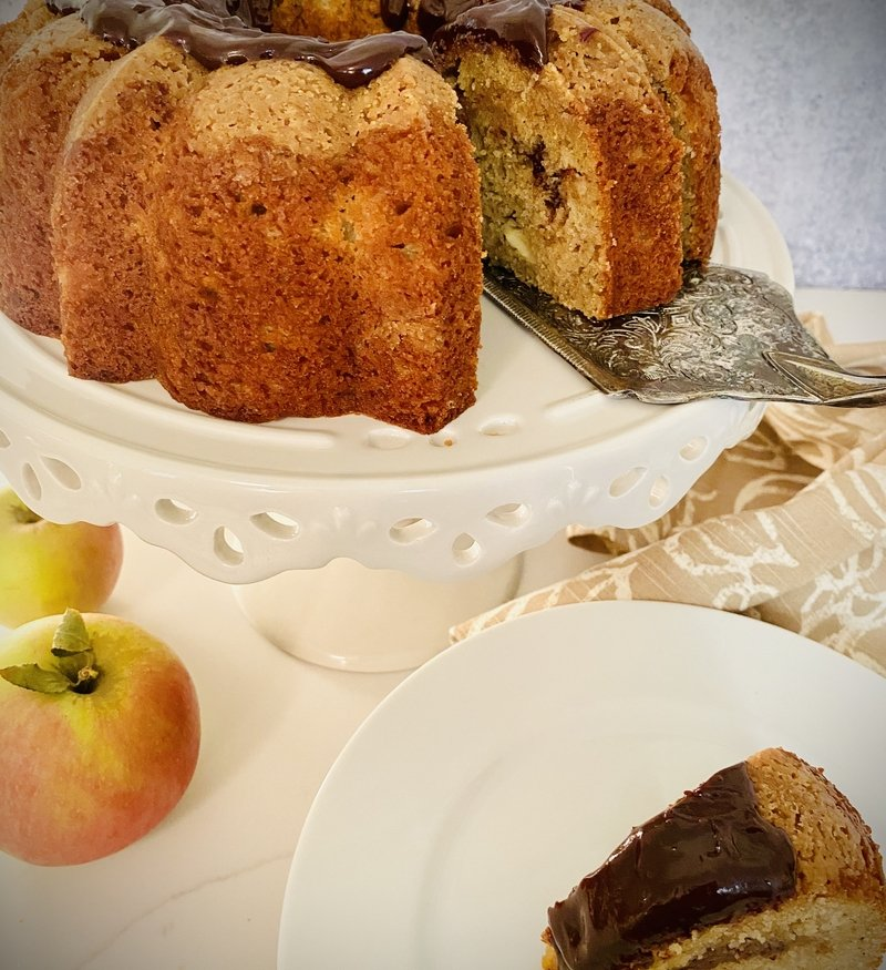 brown butter apple coffee cake with nutella swirl