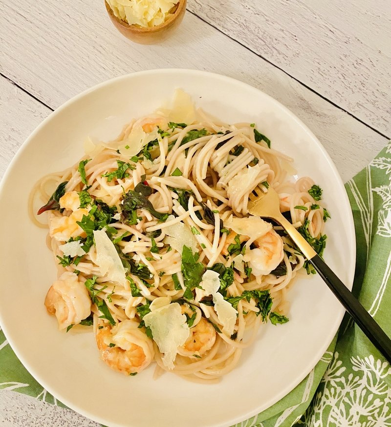 one-pot Lemon Garlic Parmesan Pasta with Shrimp