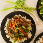 Korean Skirt Steak with peppers and garlic ginger rice