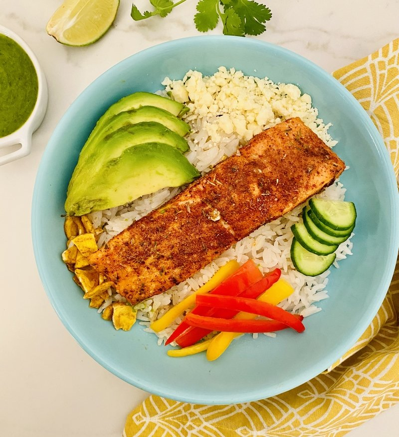 Blackened Salmon & Coconut Rice Bowls with Cilantro Lime Dressing