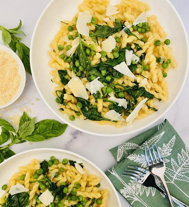 Spring Pasta Carbonara with Peas + Spinach
