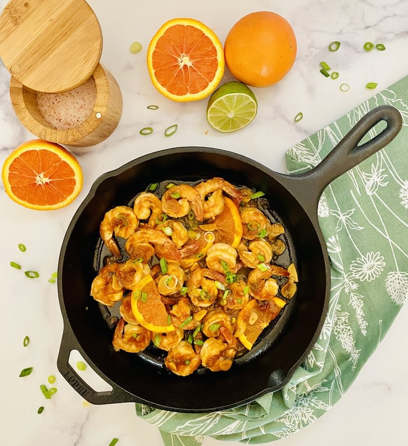 Cara Cara Orange-Sriracha Glazed Shrimp Skillet