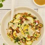 farro salad with marinated zucchini + manchego
