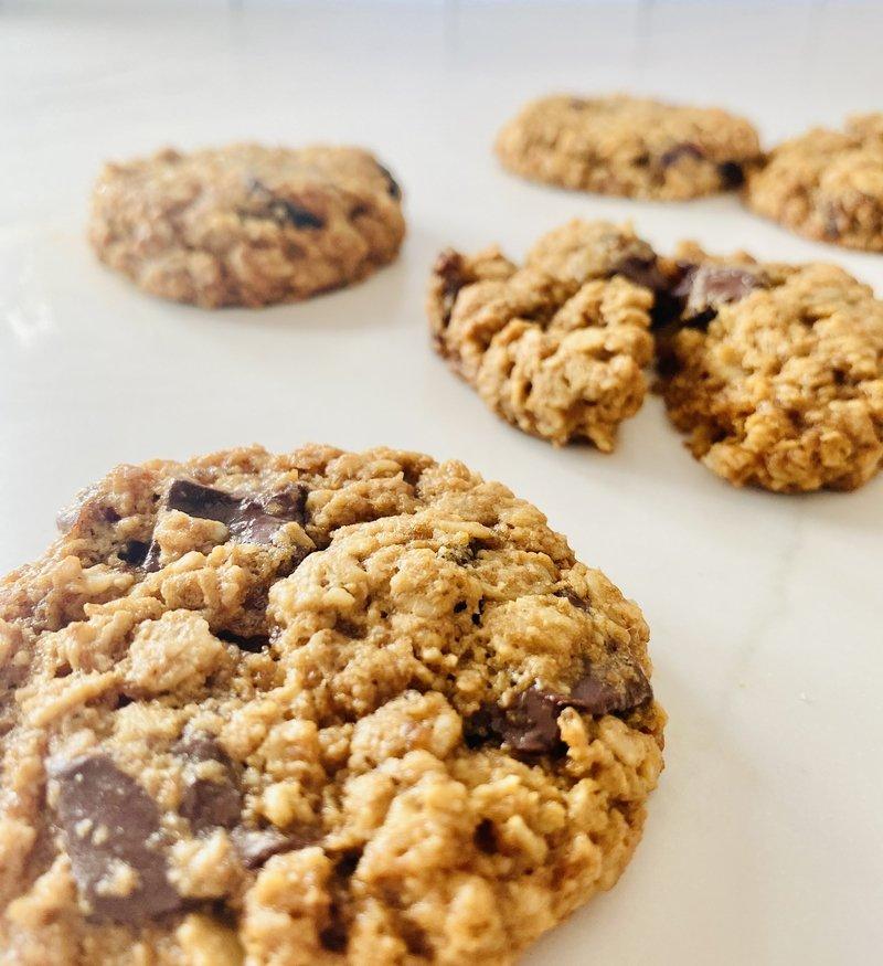 oatmeal cookies with tahini dates and chocolate chunks