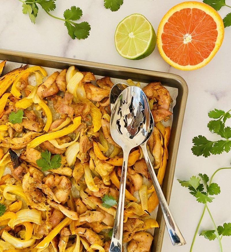 sheet pan adobo chicken + sweet potato wedges