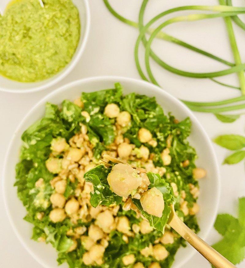 Garlic Scape + Mint Pesto Farro Salad with Kale + Chickpeas