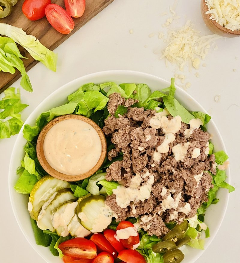Healthy Burger Bowls with Special Creamy Sriracha Sauce