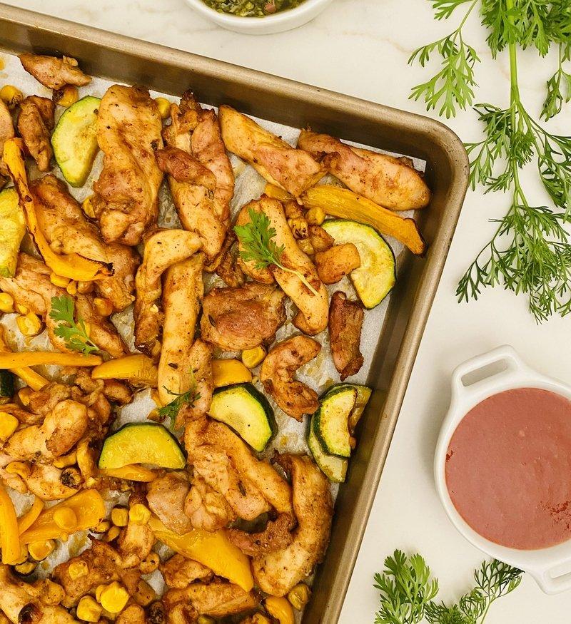 30 Minute Tex-Mex Sheet Pan Chicken + Veggies