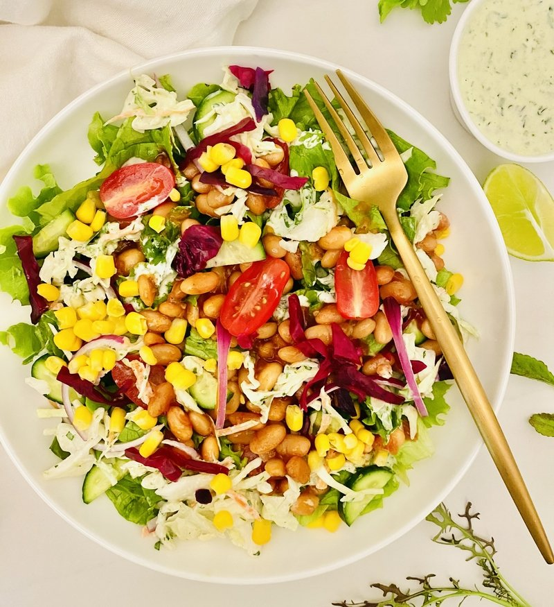 BBQ White Bean Salad with Cilantro Lime Ranch