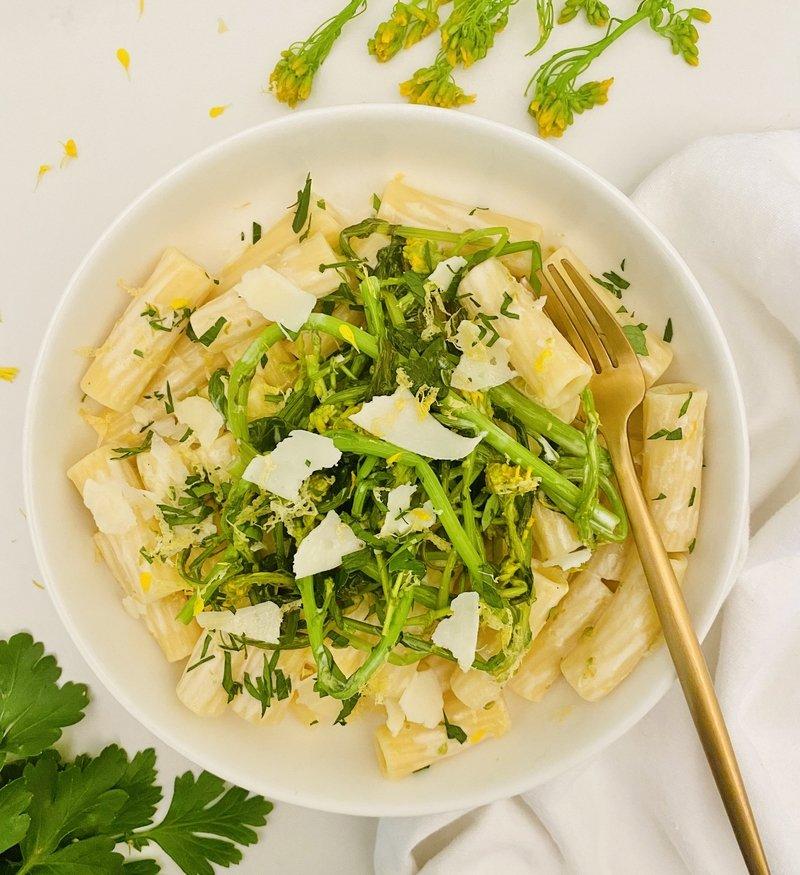 Broccoli Rabe + Rigatoni in a Lemon + White Wine Cream Sauce