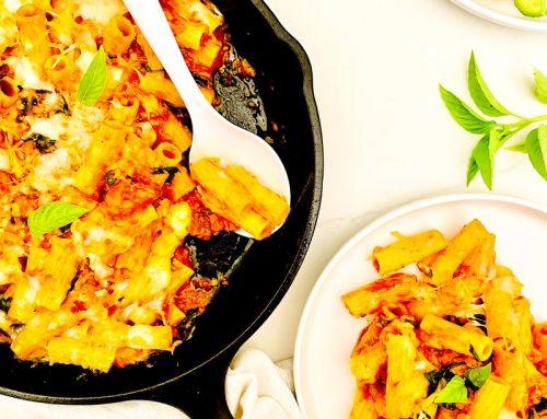 30 Minute Cheesy Rigatoni + Swiss Chard Pasta Bake