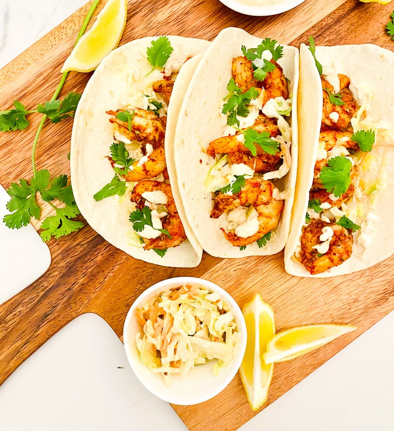Air-Fryer Shrimp Po Boy Tacos