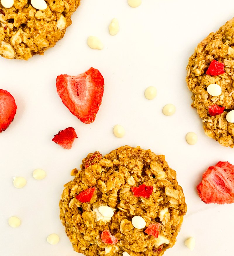 Tropical Strawberry Pineapple + White Chocolate Oat Cookies