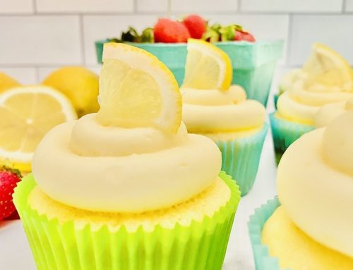 Lemon Cupcakes with Strawberry Jam + Cream Cheese Frosting