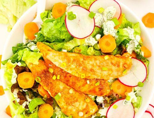 Buffalo Chicken Tender Salad with Creamy Cilantro-Lime Ranch Dressing