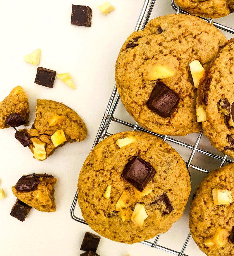 chewy maple chocolate chip + apple cookies